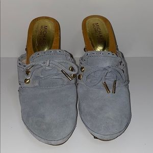 Light Blue a Suede Wooden Clogs Mules Heels